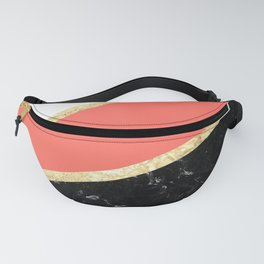 Living Coral, White, Black Marble and Gold Stripes Glam #1 #minimal #decor #art #society6 Fanny Pack