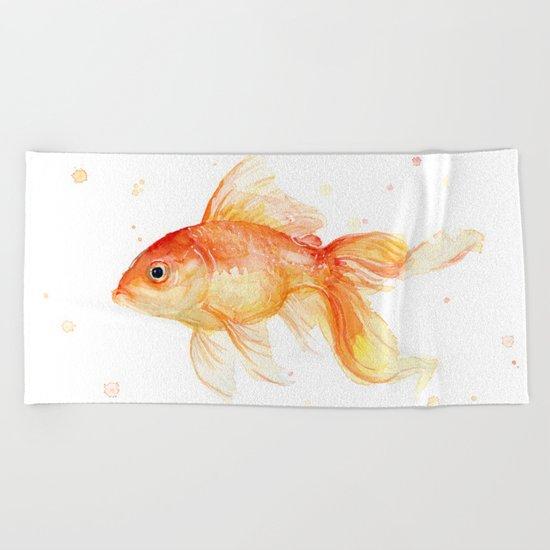 Goldfish Watercolor Fish Beach Towel