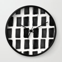 Brush Strokes Vertical Lines Black on Off White Wall Clock