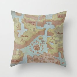 Super Mario World Map (Vintage Style) Throw Pillow