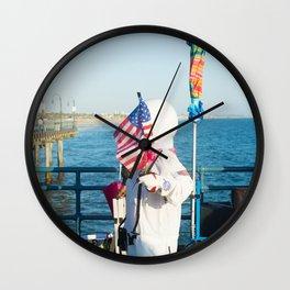 cosmonaut Santa Monica pier Wall Clock