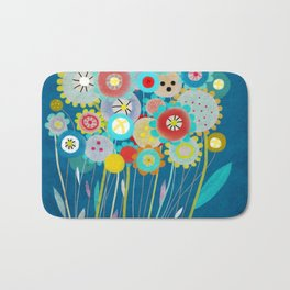 Wedding Bouquet Blue Bath Mat