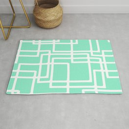 Retro Modern White Rectangles On Diluted Aqua Rug