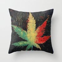 marijuana Throw Pillows featuring Marijuana by Michael Creese