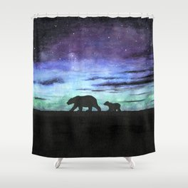 Aurora borealis and polar bears (black version) Shower Curtain