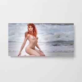 Nude Redhead Woman On Beach Metal Print