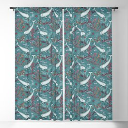 Narwhal Toile - teal blue Blackout Curtain