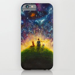 Hand painted painting Little prince and Fox, Red Rose by Valery Rybakow iPhone Case