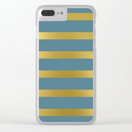Baesic Gold & Blue Texture Shine Clear iPhone Case