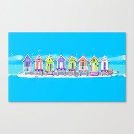 Beach Huts Fun Canvas Print