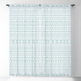 Aztec Stylized Pattern Duck Egg Blue & White Blackout Curtain