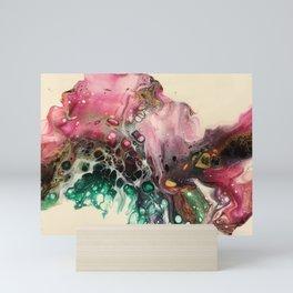 Magenta Emerald Dutch Pour Mini Art Print