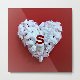 Red Monogrammed Heart S Metal Print
