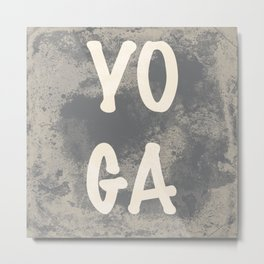 Yoga word with a grunge gray background Metal Print