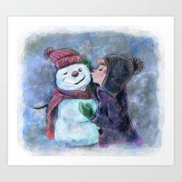 Kiss a snowman Art Print