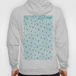 Hand painted pastel blue watercolor hearts pattern Hoody