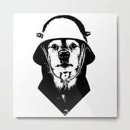 Eleven: Dog with Helmet Metal Print