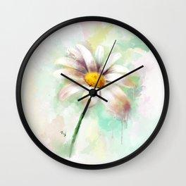 Daisy watercolor - flower illustration Wall Clock