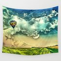 Air Balloon in the Sky with Clouds over the Landscape by higraphicdesigns