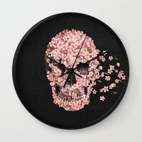 threadless Wall Clocks featuring A Beautiful Death  by Terry Fan