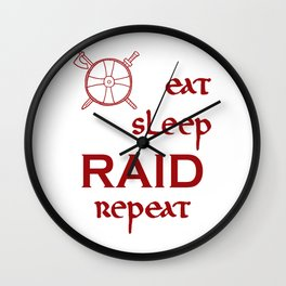 eat-sleep-RAID-repeat red, Vikings Wall Clock