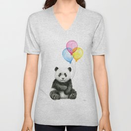 Panda Baby with Balloons Unisex V-Neck
