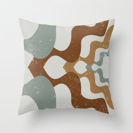 Grandpa's Sweater - Mid century modern, wall art print, geometric abstract interior, Watercolor Prin Throw Pillow