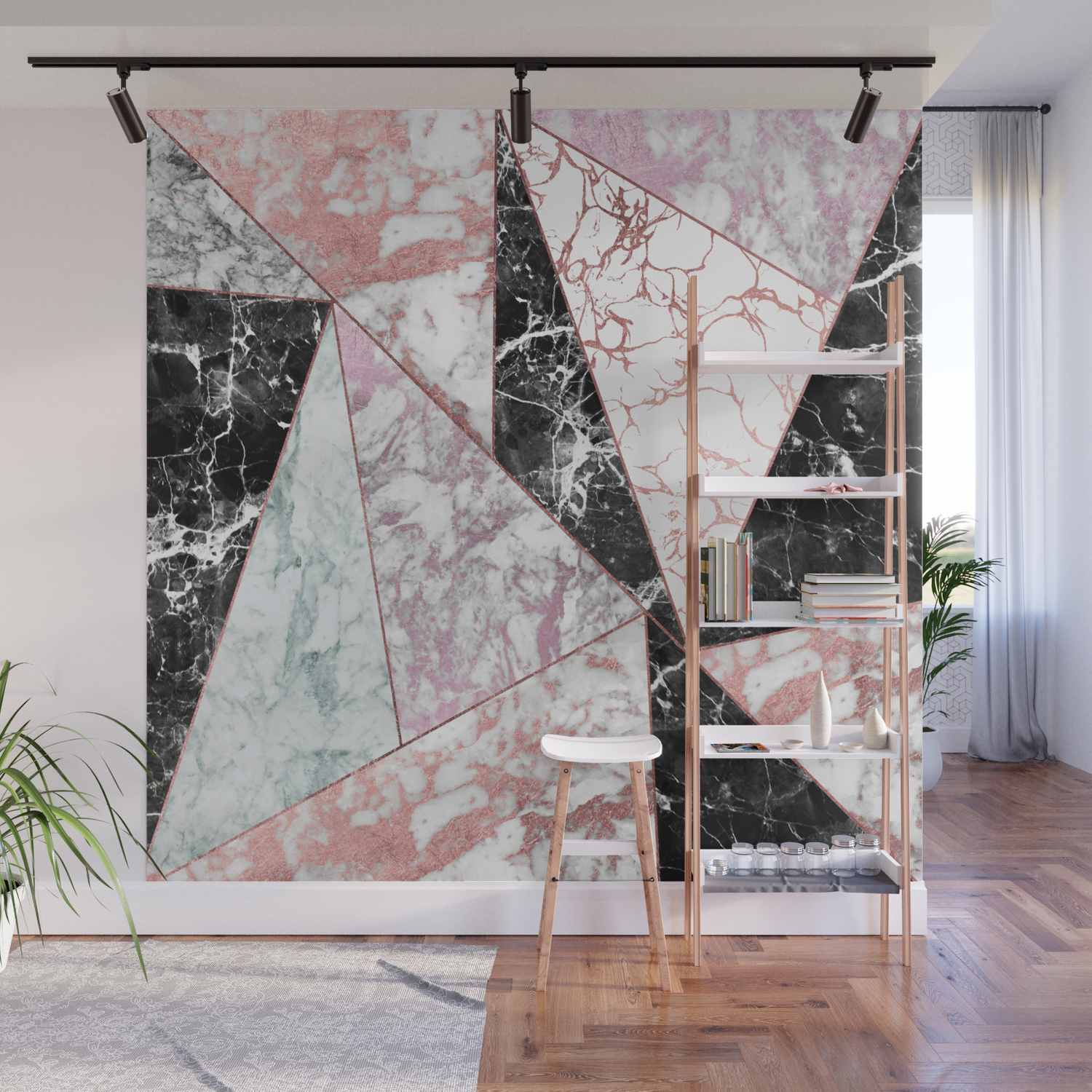 Geometrical Rose Gold Black Pink Marble Triangles Wall Mural By Pink Water Society6