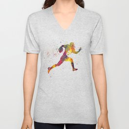 American football player in watercolor 14 Unisex V-Neck