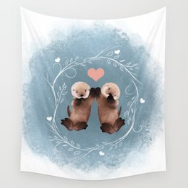 Otter Love Wall Tapestry