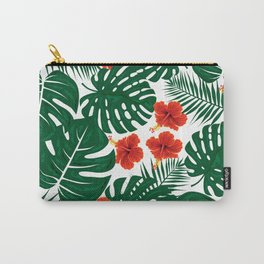 Tropical Leaves Hibiscus Flowers Carry-All Pouch