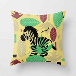 Zebra with leaves and dots Throw Pillow