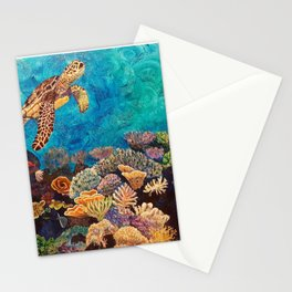A Look around - Sea turtle in the reef Stationery Cards