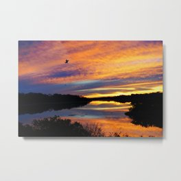 Reflections Of Sunrise On Lake Manatee Series (3) Metal Print