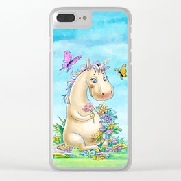Unicorn in flowers Clear iPhone Case