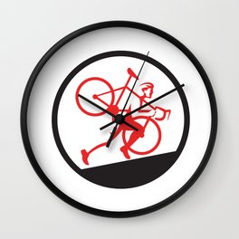 Cyclocross Athlete Running Uphill Circle Wall Clock