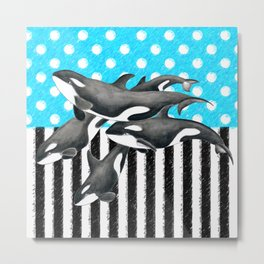 Artsy Orca Pod Blue Metal Print