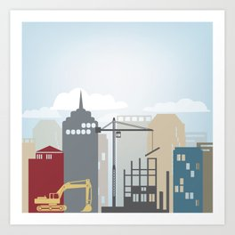 City Pillow Art Print