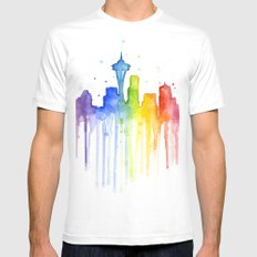 Seattle Skyline Rainbow Watercolor Mens Fitted Tee White X-LARGE