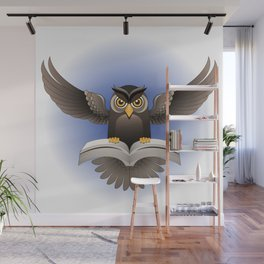 Brown Owl fly with the book Wall Mural