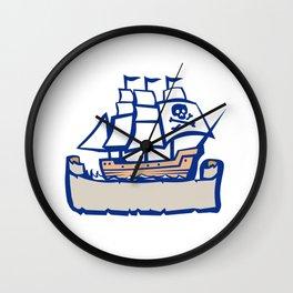 Pirate Galleon Ship Sailing Retro Wall Clock
