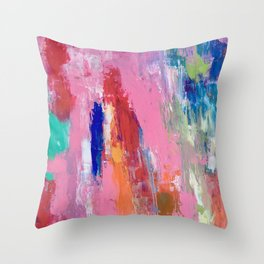 Lucky #13, a contemporary abstract in pinks and fuchsias Throw Pillow