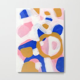 Ejaaz Haniff Colorful Abstract Acrylic Painting Pastel Fun Colors Yellow Pink Blue 'Pink Parade' Metal Print