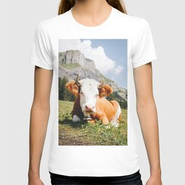 Photo of Chill Mountain Cow, in Kandersteg, Suisse/Switzerland Alps | Fine Art Travel Photography |  T-shirt