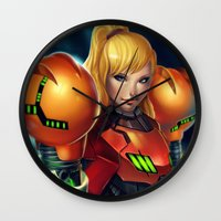 samus Wall Clocks featuring Samus by PooZ