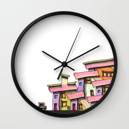 Funky Colors House With Car 69 Wall Clock