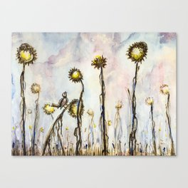 Bird Sings the Sunflower Blues Canvas Print
