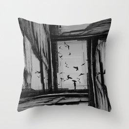 arrival of the birds Throw Pillow