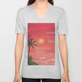 Palm trees swaying in the wind Unisex V-Neck