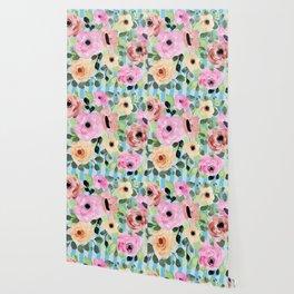 Watercolor Flowers Preppy Pastels Wallpaper